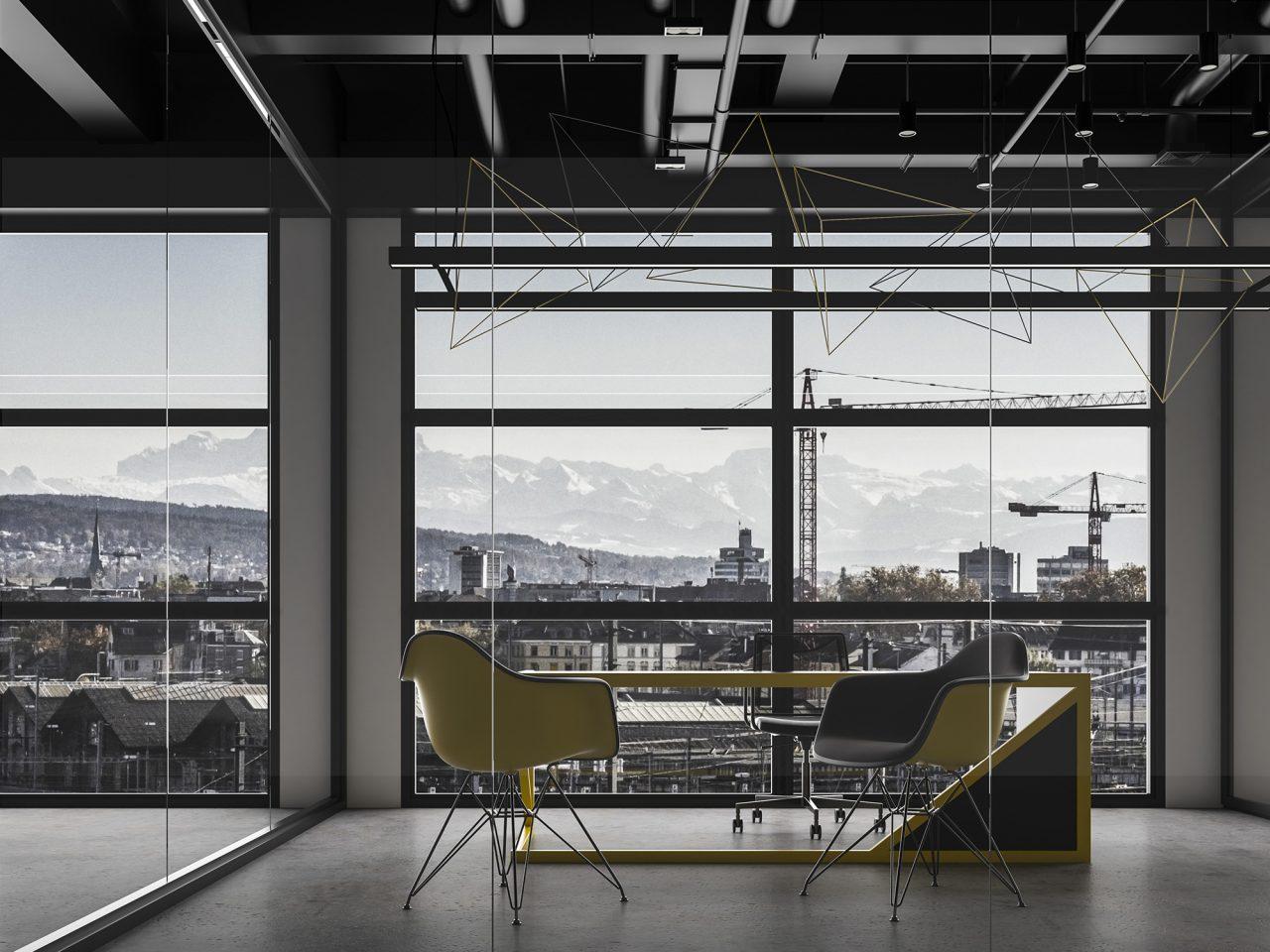 Projekt koncepcyjny modułu biurowego zlokalizowanego w nowoczesnym budynku wysokościowym. Wnętrze inspirowane postindustrialnym stylem. Pracownia14 rzeszów