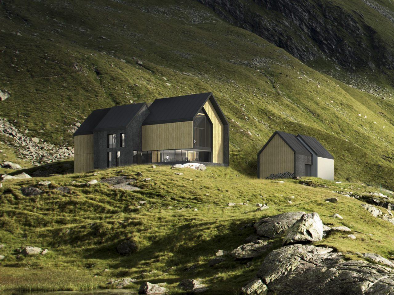 Projekt koncepcyjny schroniska górskiego w okolicy miejscowości Soča (Alpy Julijskie). Pracownia projektowa - pracownia14 - Rzeszów.