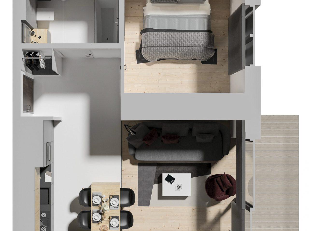 Rzut mieszkania 3D