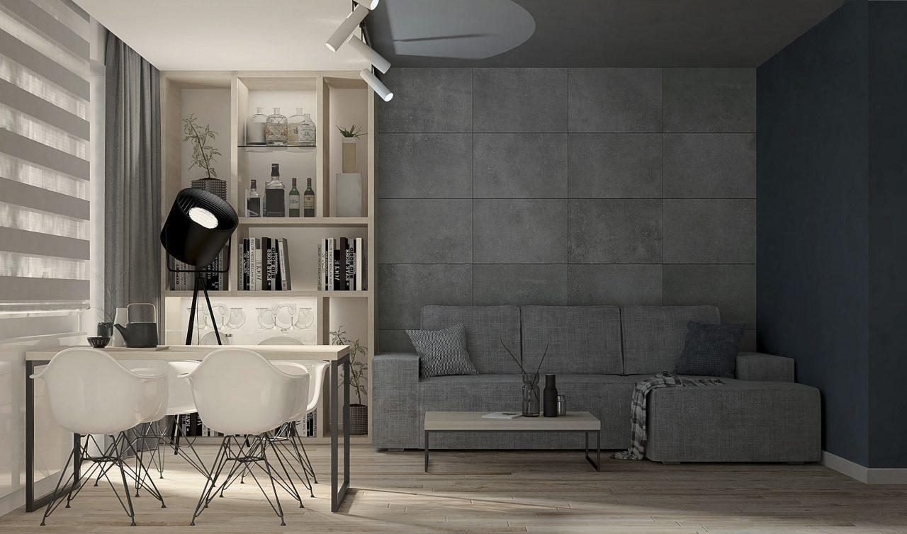 Projekt mieszkania M3 Salon