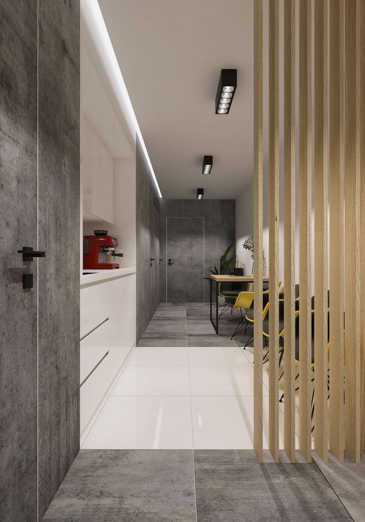 Przestrzeń biurowa - korytarz